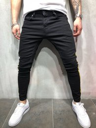 Wholesale skinny jeans cargo pants men for sale – denim Mens Denim Jeans Men Pencil Pants Slim Fit Biker Skinny Jeans Casual Jogger Big Side Pocket Hip Hop Black Cargo Pants