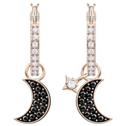 07947bfef Crystals from Swarovski S925 Sterling Silver DUO moon and star elements  chic elegant earrings Modern Campus style selection for elegant lady