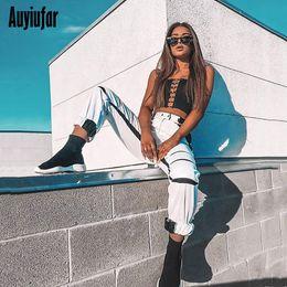 White Flannel Trousers Australia - Auyiufar White Streetwear Cargo Pants Wide Leg Female Joggers Women's High Waist Pants Black Loose Trousers Plus Size Pants Q190510