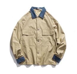 Wholesale retro windbreaker jackets for sale – winter New Men Cargo JacketsMen Jean Patchwork Retro Jackets Coats Mens Street Style Hot Loose Pocket Autumn Windbreaker Hot Sale