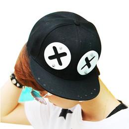 EyE hats online shopping - Funny Punk style XX eye rivet Hip hop baseball hats Cap for Young men and women lovely flat brim duck tongue baseball hat Cap