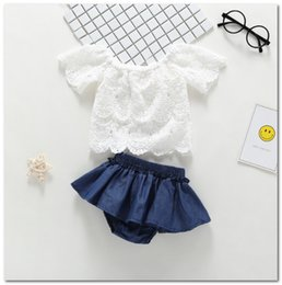 embroidery lace clothing wholesale Canada - INS Baby girls Princess outfits Summer toddler Clothing Sets kids lace embroidery short sleeve blouse+falbala PP shorts 2pcs sets Y2083