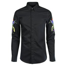 $enCountryForm.capitalKeyWord NZ - New 100% Cotton Men Shirt Luxury Flower Embroidered Long Sleeve Mens Dress Shirt Masculina Mens Shirts Casual Slim Fit