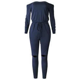 sexy blue tube UK - Wontive Dark Blue Color One Word Collar Collar Tube Top Strapless Long Sleeve Sexy Open Knee Trousers Jumpsuits Bodysuits