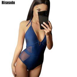 $enCountryForm.capitalKeyWord Australia - Riseado New One Piece Swimsuits Sexy Mesh 2019 Swimwear Women Deep V Push Up Women Swimsuits Solid Halter Beachwear Y19062901