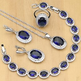 $enCountryForm.capitalKeyWord Australia - Silver 925 Jewelry Blue Natural Zircon White Crystal Costume For Women Stones Earrings pendant rings bracelet necklace Set J 190514
