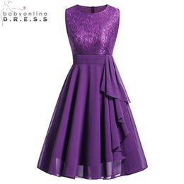 Discount robe soiree courte - Vintage Purple Short Lace Evening Dress Chiffon Evening Party Dresses With Sashes Robe De Soiree Courte Y19051401