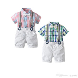 Short Sleeve veStS for kidS online shopping - Casual Summer Kids Baby Boys Casual Clothing Suits Plaid Ropmer Bow Tie Belt Pants pieces Set Children Boys Designer Clothes for T