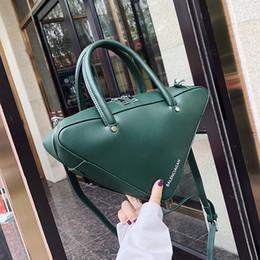 Color Leather Bags Australia - Women Big Triangle Handbag PU Leather Shoulder Bags Solid Color Messenger Bags Ladies Casual Totes Portable Handbag LJJR912