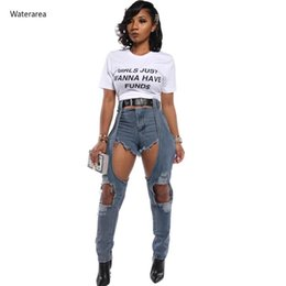 street jeans women 2021 - Waterarea 2020 Women High Waist Cut Out Sexy Club Jeans Hole With Waist Street Style Long Lady Jeans Fashion Jean Pants Trousers