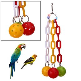 wholesale plastic birds Canada - Bird Toys Hang Swing Cage Parrot Toys To Climb And Bite Toys Plastic Hammer Parrot Bird Parts