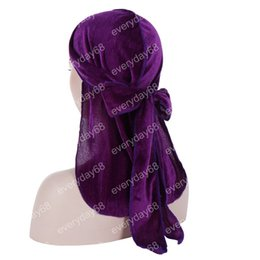 $enCountryForm.capitalKeyWord NZ - Unisex Men Women Breathable Bandana Hat Headwear velvet Durag do doo du rag long tail headwrap chemo cap Hair Accessories