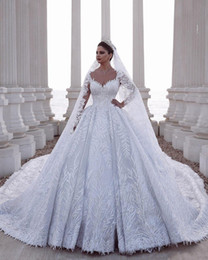 Discount luxurious wedding dress trains Luxurious Beaded Arabic Ball Gown Long Sleeves Wedding Dresses Lace Tulle 3D Appliques Sequins Fitted Bridal Gowns Plus