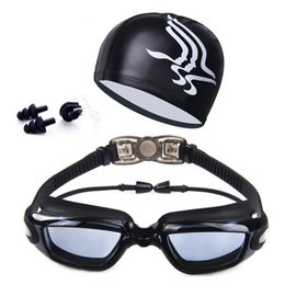 hat goggles Australia - Professional Swimming Goggles With Hat+Ear Plug+Nose Clip Unisex Waterproof Swim Glasses Anti-fog UV Sport Swim Eyewear Suit