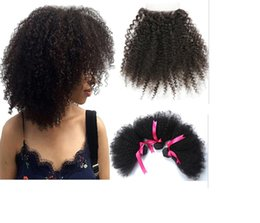 quality afro hair extension Australia - Afro Kinky Curly Human Hair Bundles with Closures 3+1 4*4 Lace 100% Brazilian Virgin Hair Weaves Double Weft Hair Extension 1B Top Quality