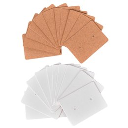 blank jewelry tags NZ - 200 Pcs Blank Earrings Ear Studs Tag Paper Display Card Hanging Jewelry, 100 Pcs White & 100 Brown