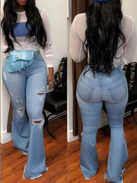 Jeans big hole knee online shopping - Bell Pants Plus Size Wide Leg Jeans High Waisted Big Bell Bottom Jeans For Women Vintage Knee Hole Ripped Long Flare Denim Pants Lady