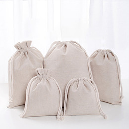 Chinese  Linen Drawstring Pouch Bags Reusable Shopping Bag Party Candy Favor Sack Cotton Gift Packaging Storage Bags DHL WX9-1488 manufacturers