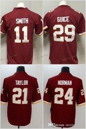 11 Alex Smith Jersey Washington 21 Sean Taylor 24 Josh Norman 29 Derrius  Guice Redskins Football Jerseys Red White 96045e41a