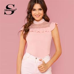 $enCountryForm.capitalKeyWord Australia - Sheinside Pearl Beaded Dot Mesh Yoke Ruffle Top Pink Stand Collar Sleeveless Blouse Women Summer Slim Fit Elegant Blouses Y19050501