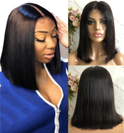 cut front hair Australia - Short Bob Cut Lace Front Wig Straight 10A Natural Color Mongolian Virgin Human Hair Full Lace Wig for Black Woman Fast Express Shipping