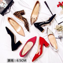 Wedding Colors Champagne Silver Australia - Sexy new patent leather pointed high heels leopard suede 6.5cm chunky heel banquet shoes lady wedding shoes 8 colors large size