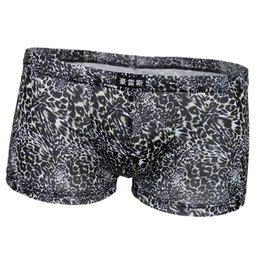 leopard underpants UK - Men's Boxer Briefs Low Rise Leopard Pattern Underwear Man Shorts Underpants