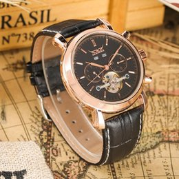 $enCountryForm.capitalKeyWord Australia - Stainless Steel Skeleton Case Mechanical Watch,Muti-dial,Leather Strap and Automatic-self-winding Luxury Mechanical Wristwatch for Men Women