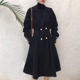 $enCountryForm.capitalKeyWord Australia - Plus Size Casual Womens LongTrench Coats Loose Solid Full Sleeve Designer Coats Black Turn-down Collar Skirt Women