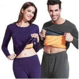 Women Velvet Clothes Australia - Winter Lover Thermal Underwear For Women Men Layered Clothing Pajamas Thermos Long Johns Velvet Thick Second Thermal Female Skin Q190401