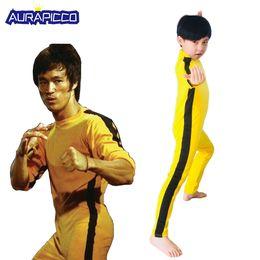 $enCountryForm.capitalKeyWord Australia - Adult Kids Bruce Lee Cosplay Jeet Kune Do Uniform Unisex Yellow Jumpsuit Chinese Kung Fu Training Suit Game of Death Costume