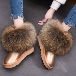 boots real fox Canada - RUIYEE ladies winter boots leather snow boots fox fur women's boots 2018 new real hair warm shoes LY191224