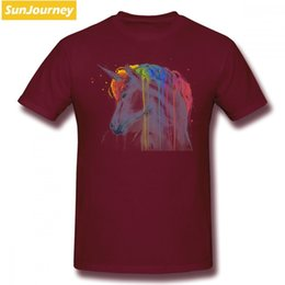 Rainbow Color Polo Australia - mens designer clothes brand polo Unicorn Rainbow Men T Shirt Hiphop Funny Big Size Cotton Short Sleeve T Shirt Men Table