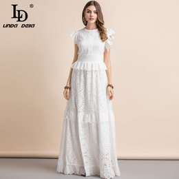 ee73db38445eab LD LINDA DELLA New Summer Elegant White Maxi Long Dress Women's Ruffles  Sleeve Hollow Out Bow tie Peplum Celebrity Party Dress