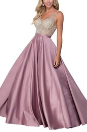 $enCountryForm.capitalKeyWord Australia - Sexy V-neck Beaded Tops Prom Gown Satin A-line Floor Length Formal Evening Dresses with Pockets Custom Made