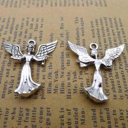 80 pz 29 * 30mm Antico tibetano Argento angelo fata ciondoli per il braccialetto pendenti in metallo lega vintage fai da te monili che fanno ornamento