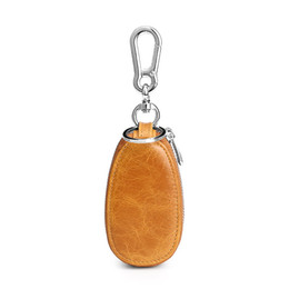 Leather Car Key Case UK - Car key wallet first layer leather cowhide double pockets key case Men's zipper oval key set mini bag unisex business gift