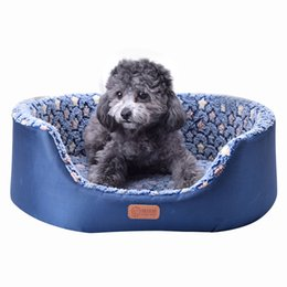paw beds Canada - All Season Pet Dog Bed Detachable Puppy Cat House Star Paw Comfortable Pad Sofa Mat Coral Fleece Bed for Small Medium Large Dogs Y200330