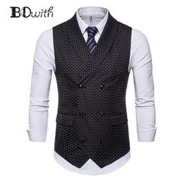 Double Breast Dresses NZ - Black Dot Suit Vest Men Vest Sleeveless Slim Fit Men's Double Breasted Six Buttons Business Dating Wedding Dress Waistcoat