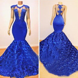 black lace fishtail evening dress Australia - Royal Blue Mermaid Sexy Prom Dresses 2019 Long Sheer Neck Fishtail Lace 2K18 African Maxi Dress Women Pageant Dress Evening Gown