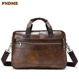 Discount real cowhide handbags - PNDME business genuine leather men's briefcase casual real cowhide women's handbag lawyer work laptop shoulder