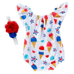 NatioNal flower day online shopping - Kids Jumpsuit Clothing Sets Flying Sleeve Two Piece Suit Cartoon Climbing Suit American Flag Independence National Day Flower Headband