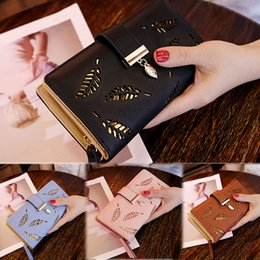 Wholesale Fashion Women Long Leather Wallet Large Capacity Purse Card Phone Holder Zip Lady leaf purse