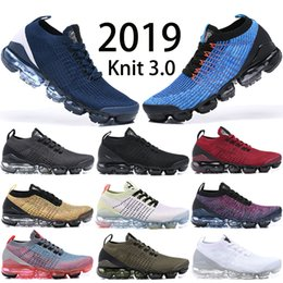 best website be9d6 0fdd0 Nike Vapormax Flyknit 3.0 Air max Runing Shoes 2019 nuevos Hombres Mujeres  Triple Negro Blanco Azul marino Oive Pink Tn zapatos de diseñador de aire
