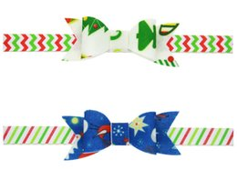 kids christmas hair bows Canada - 24 Pcs Christmas Bow Design Elastic Hair Bands Headbands Toddler Kids Headwear Hair Accessories Beautiful HuiLin DWH194