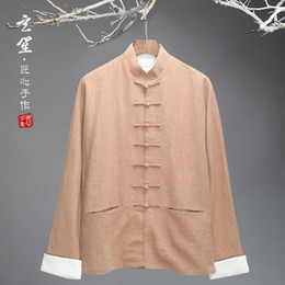Chinese Collar Jackets Australia - Men shirt long sleeve 2019 new Traditional Chinese clothing Cotton linen Mandarin Collar Casual Shirts comfort ventilate jacket