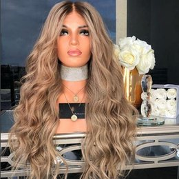 Long bLeached bLonde hair online shopping - Full Lace Human Hair Wigs Ombre T1B Body Wavy Brazilian Ash Blonde Density Natural Hairline Bleached Knots Lace Front Wigs