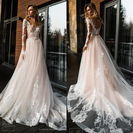 $enCountryForm.capitalKeyWord Australia - 2019 Vintage Blush Pink Boho Wedding Dresses V Neck Long Sleeves Beach Bohemian Bridal Gowns Sweep Train Vestidos De Noiva BC1438