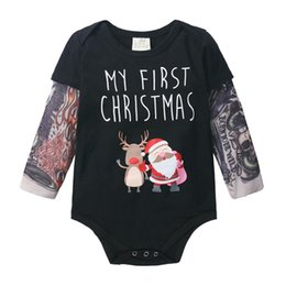 tattoo jumpsuit UK - 0-24M Christmas Baby Spring Autumn Clothing Baby Bodysuit Newborn Infant Girl Boy Tattoo Long Sleeve Jumpsuits Clothes Xmas Wear
