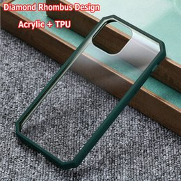 TransparenT plasTic shell online shopping - Diamond Rhombus Design TPU Acrylic Clear Back Shell Case for iPhone Pro XS MAX XR Plus Shockproof Transparent Case